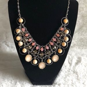 Silver plated peach and yellow statement n…